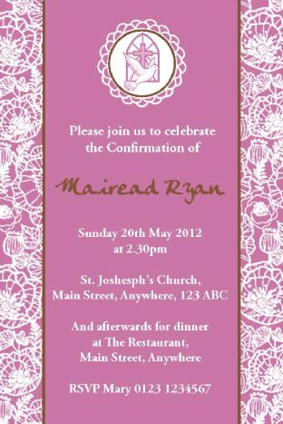 Personalised Confirmation Invitations Daughter Design 3